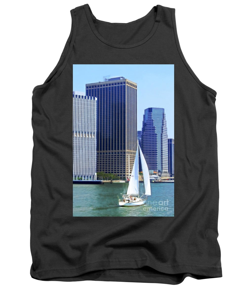 New York Skyline Tank Top featuring the photograph Sailing Past The Skyscrapers by Nishanth Gopinathan