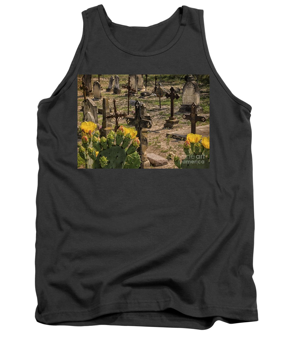 Saint Dominic Cemetery At Old D'hanis Texas Tank Top featuring the photograph Saint Dominic Cemetery At Old D'hanis Texas by Priscilla Burgers