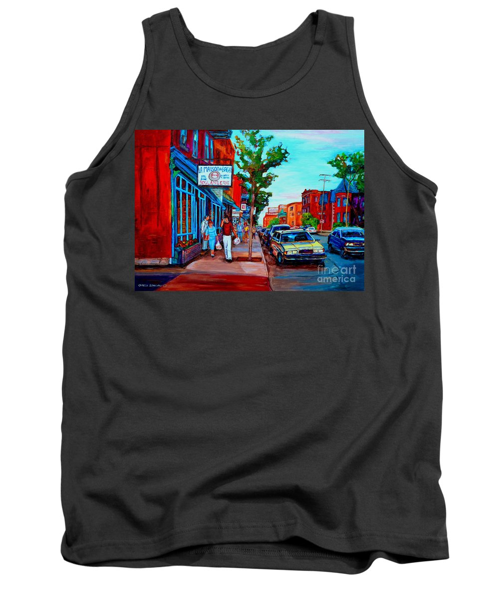 St.viateur Bagel Shop Tank Top featuring the painting Saint Viateur Bagel Shop by Carole Spandau