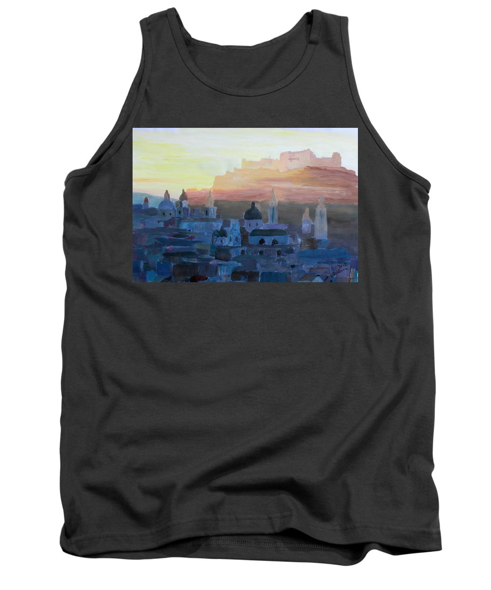 Salzburg Tank Top featuring the painting Salzburg At Dusk by M Bleichner