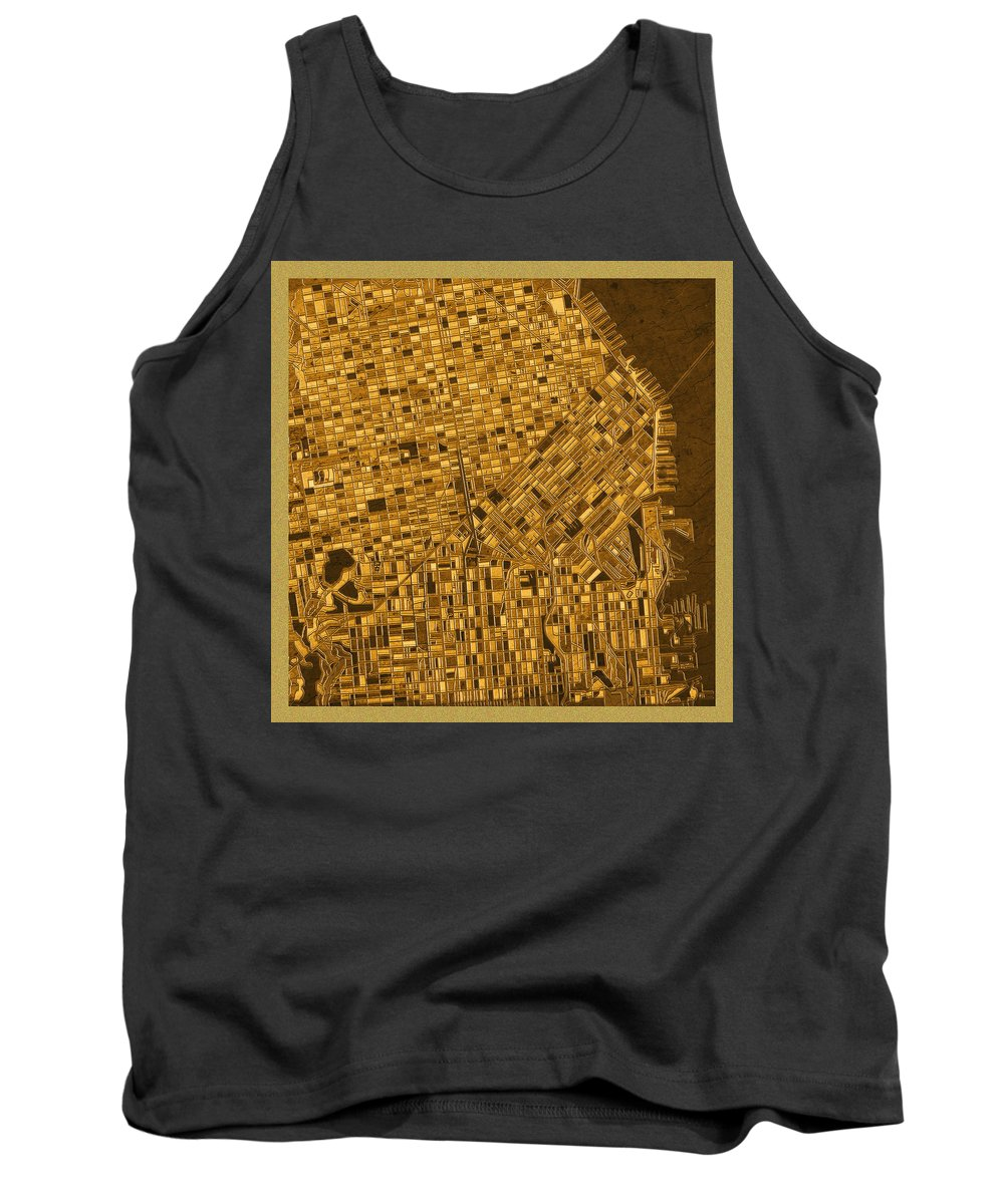 San Francisco Map Tank Top featuring the painting San Francisco Map Antique 3 by Bekim Art