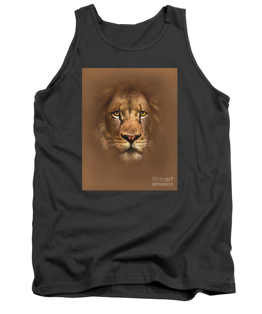 Lion Tank Top featuring the painting Scarface Lion by Robert Foster