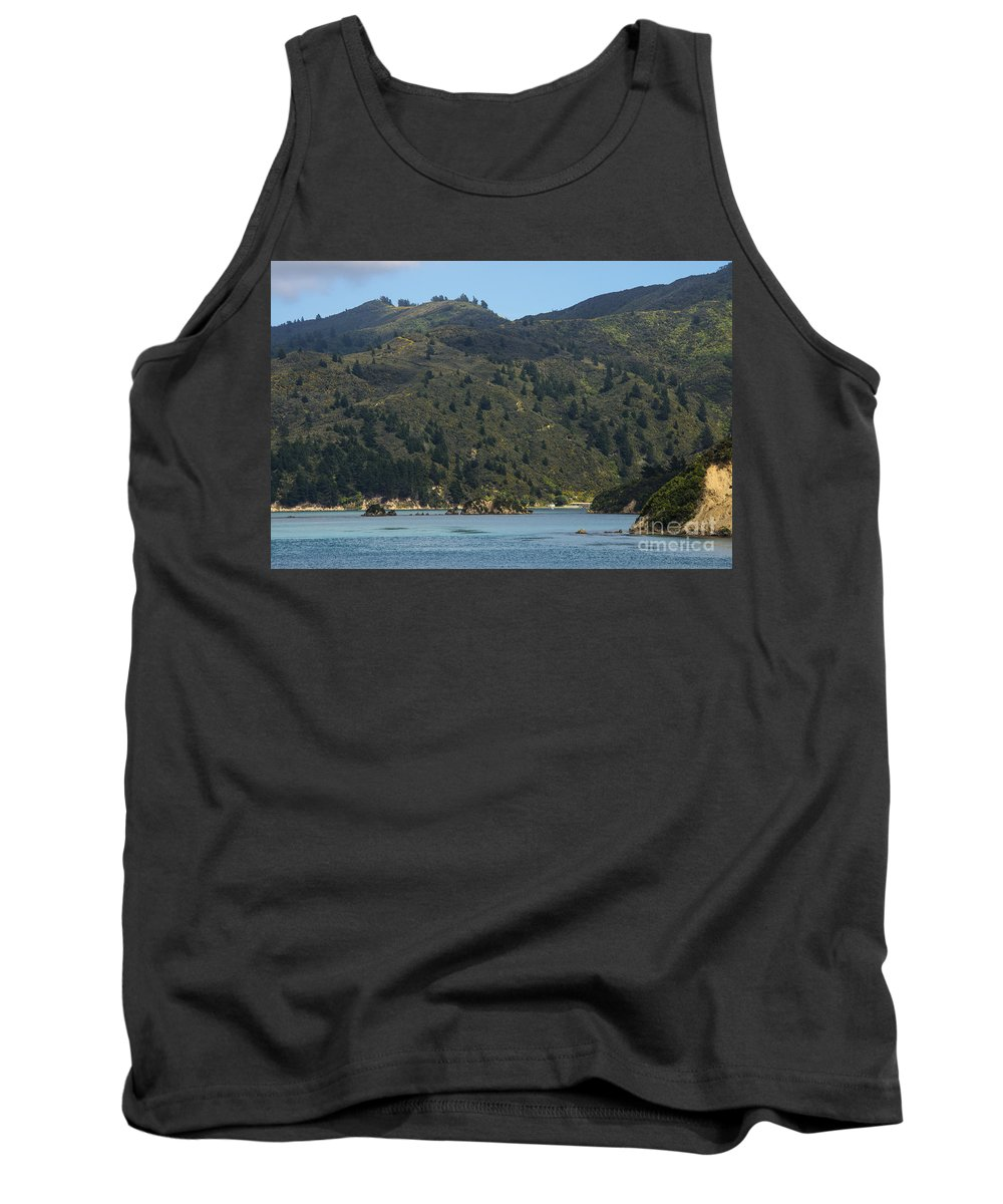 Cook Strait New Zealand Water Tree Trees Hill Hillside Hills Hillsides Landscape Landscapes Waterscape Waterscapes Tank Top featuring the photograph Scenery On Cook Strait by Bob Phillips