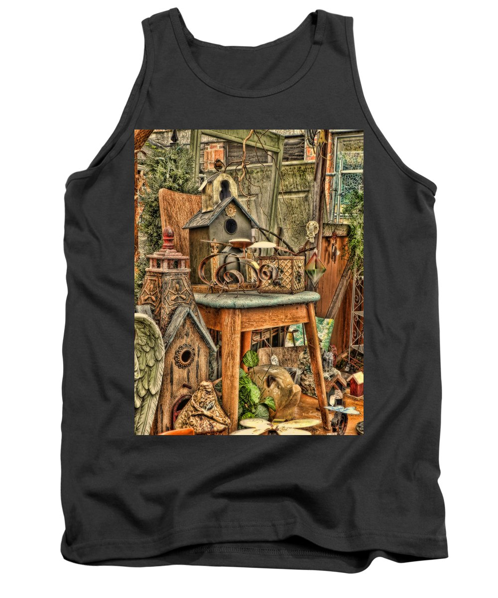 Birdhouses Tank Top featuring the photograph Scenes From An Outside Sale by Cathy Anderson