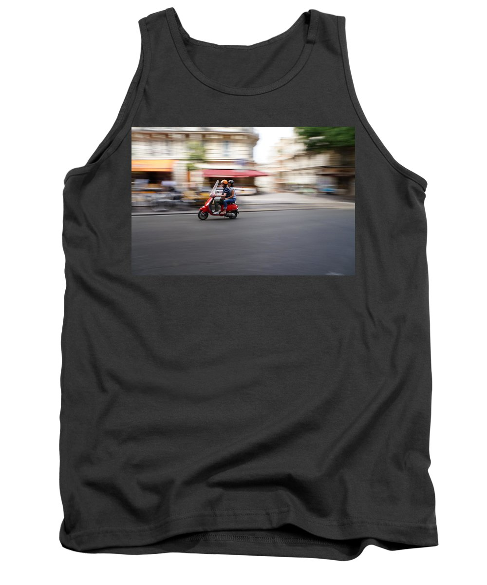 Scooter Tank Top featuring the photograph Scooter In Paris by Hans Heinz