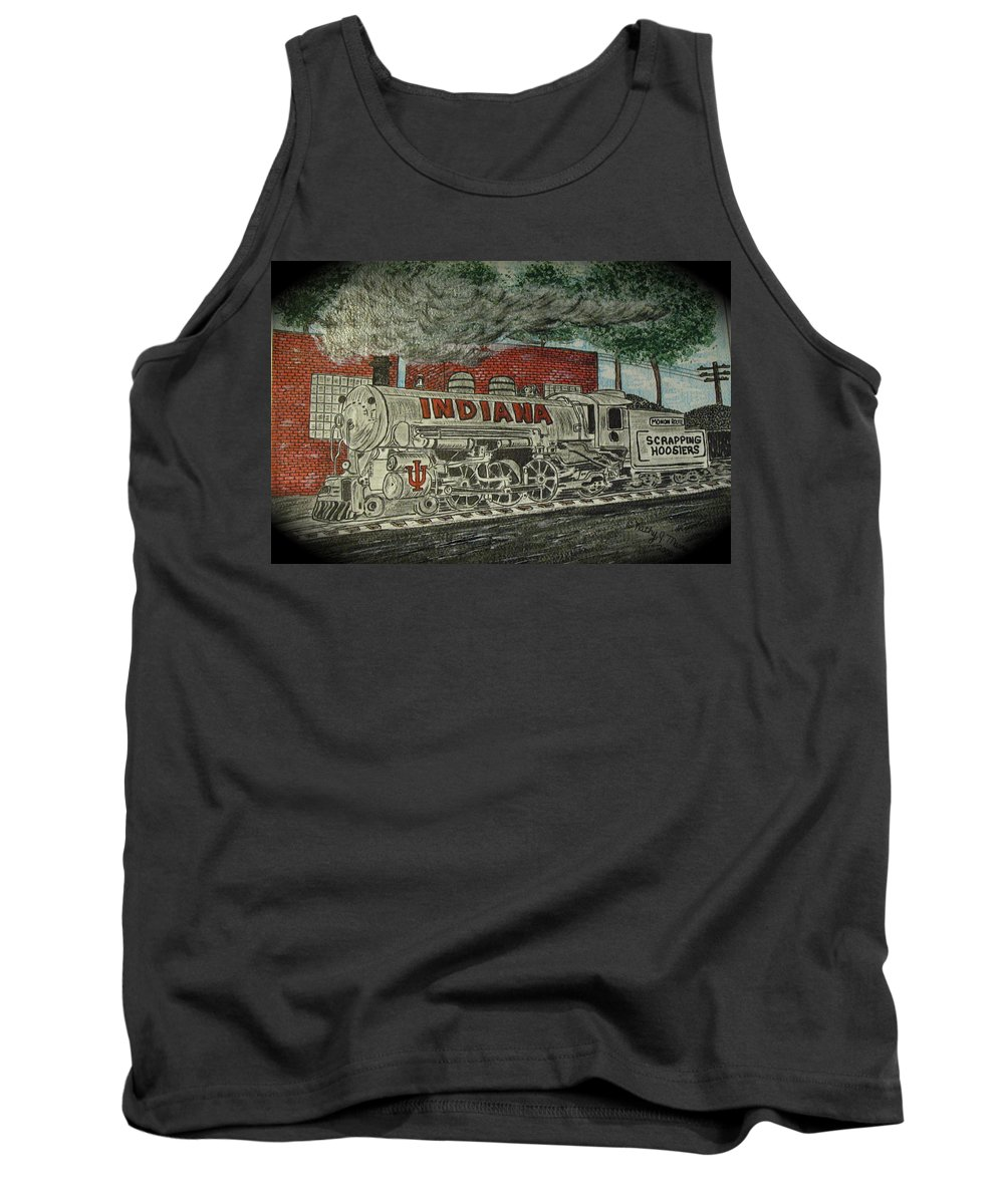 Scrapping Hoosiers Tank Top featuring the painting Scrapping Hoosiers Indiana Monon Train by Kathy Marrs Chandler