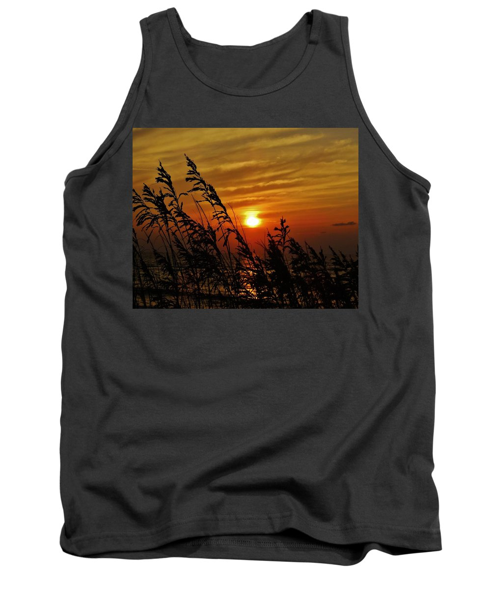 Mark Lemmon Cape Hatteras Nc The Outer Banks Photographer Subjects From Sunrise Tank Top featuring the photograph Seaoats And Sunrise Hatteras Island 1 7/31 by Mark Lemmon