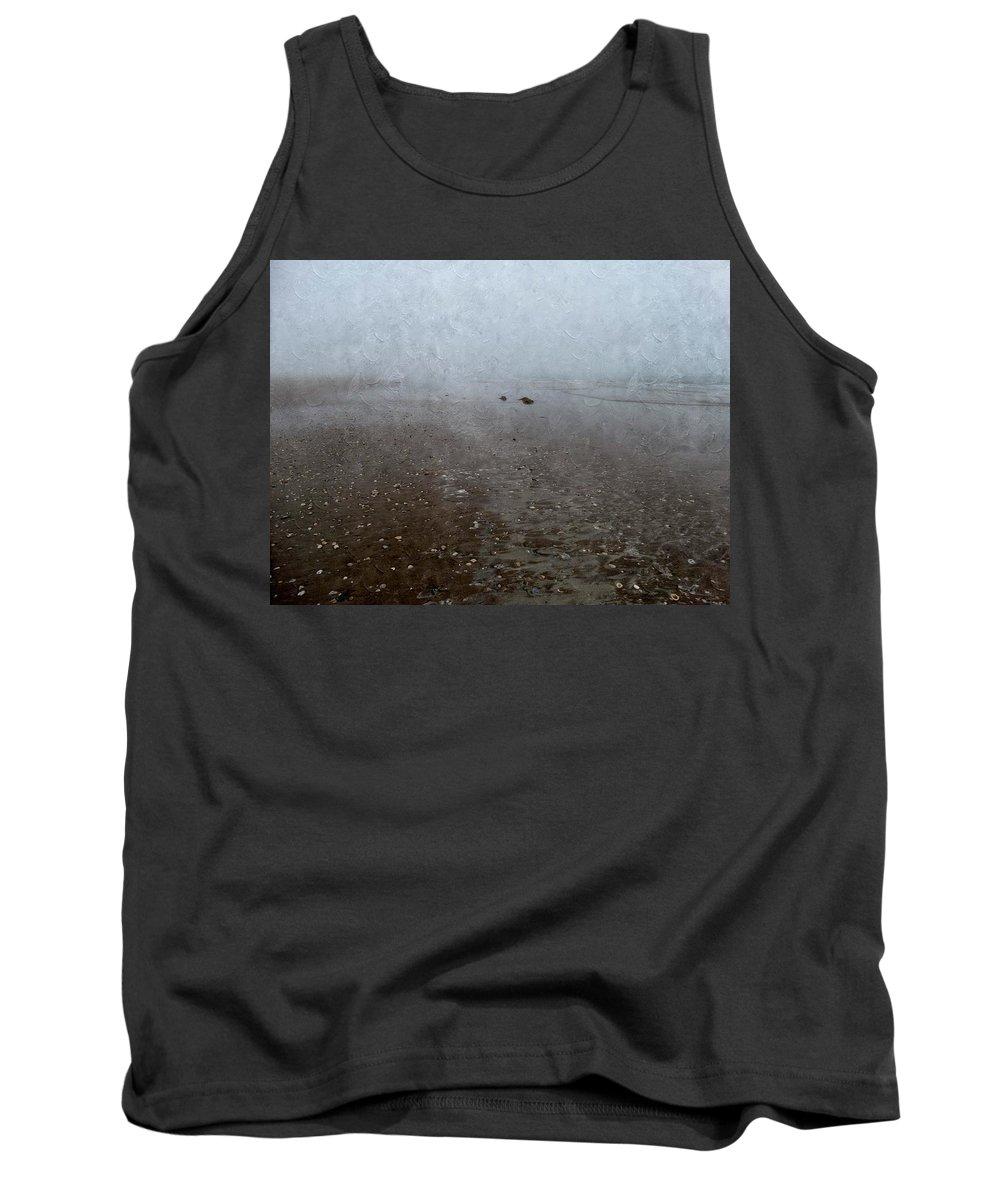 Seashells Tank Top featuring the photograph Seashells On Foggy Beach by Annie Adkins