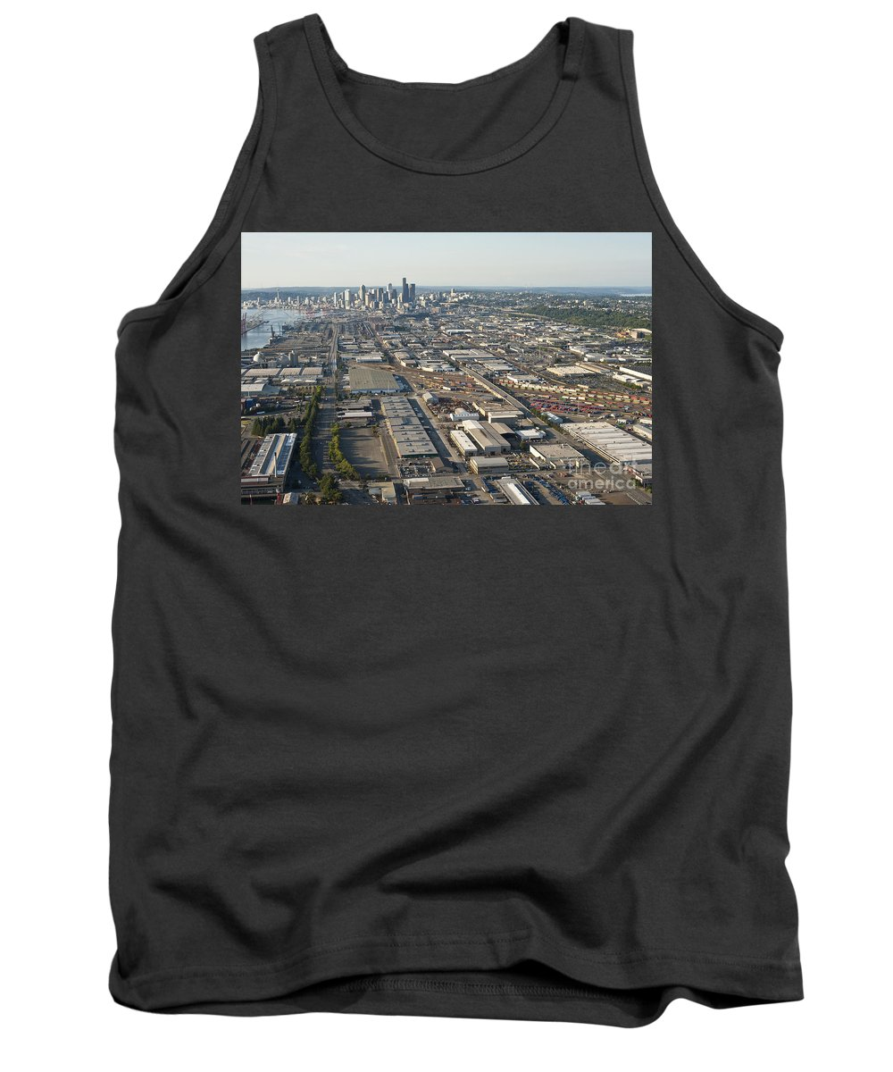 Elliott Bay Tank Top featuring the photograph Seattle Skyline And South Industrial Area by Jim Corwin