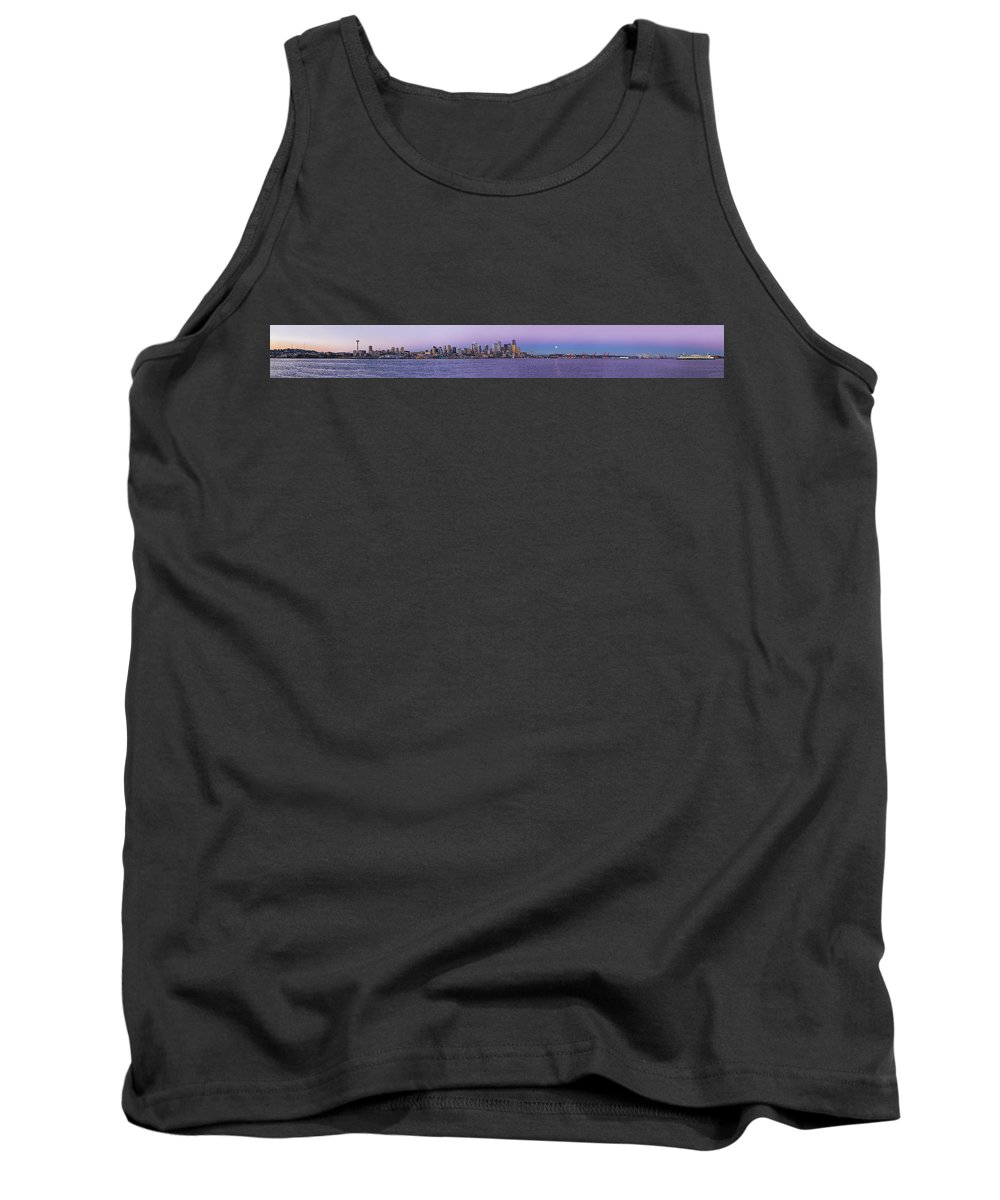 Seattle Tank Top featuring the photograph Seattle Skyline Panorama - Massive by Scott Campbell