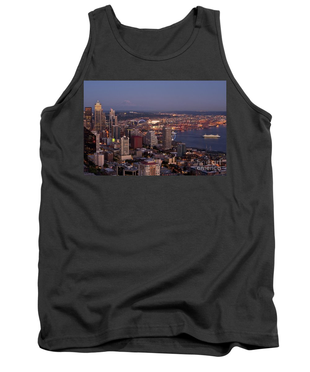 Elliott Bay Tank Top featuring the photograph Seattle Skyline With Mount Rainier And Downtown City Lights by Jim Corwin