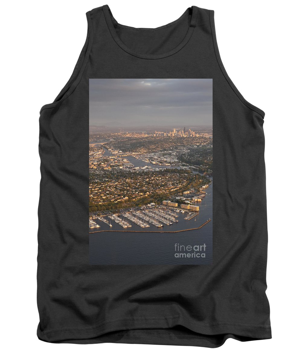 Discovery Park Tank Top featuring the photograph Seattle Skyline With Shilshole Marina Along The Puget Sound by Jim Corwin