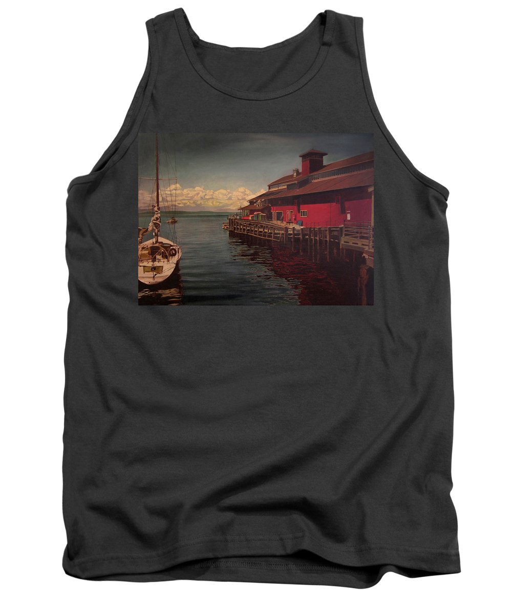 Marina Tank Top featuring the painting Seattle Waterfront by Thu Nguyen