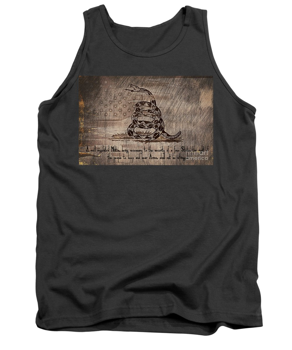 Second Amendment Tank Top featuring the photograph Second Amendment On A Gadsden by Brian Mollenkopf