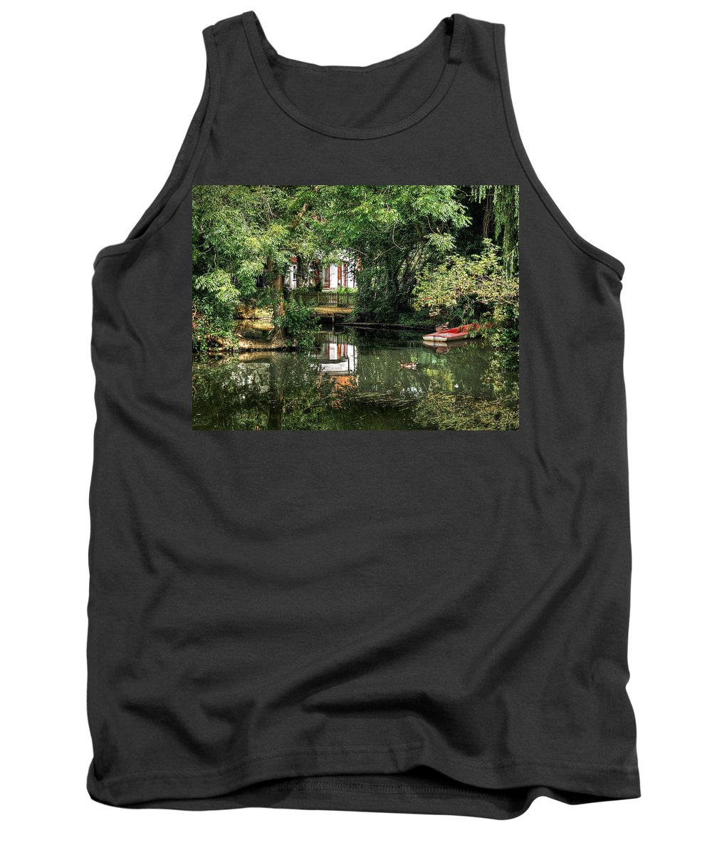 River Boat Tank Top featuring the photograph Secret Retreat - River Reflections by Gill Billington