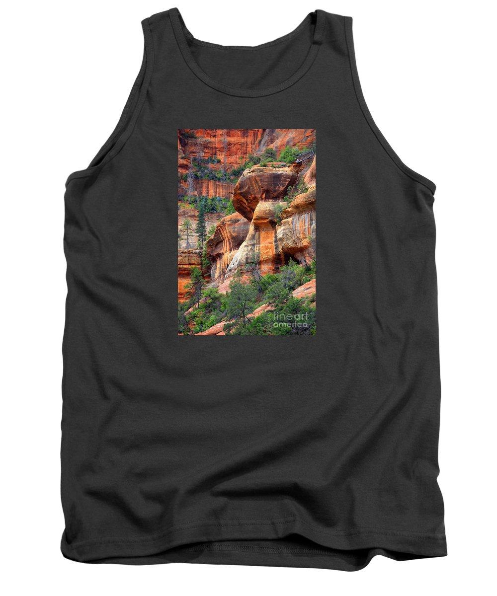 Sedona Tank Top featuring the photograph Sedona Stripes by Carol Groenen