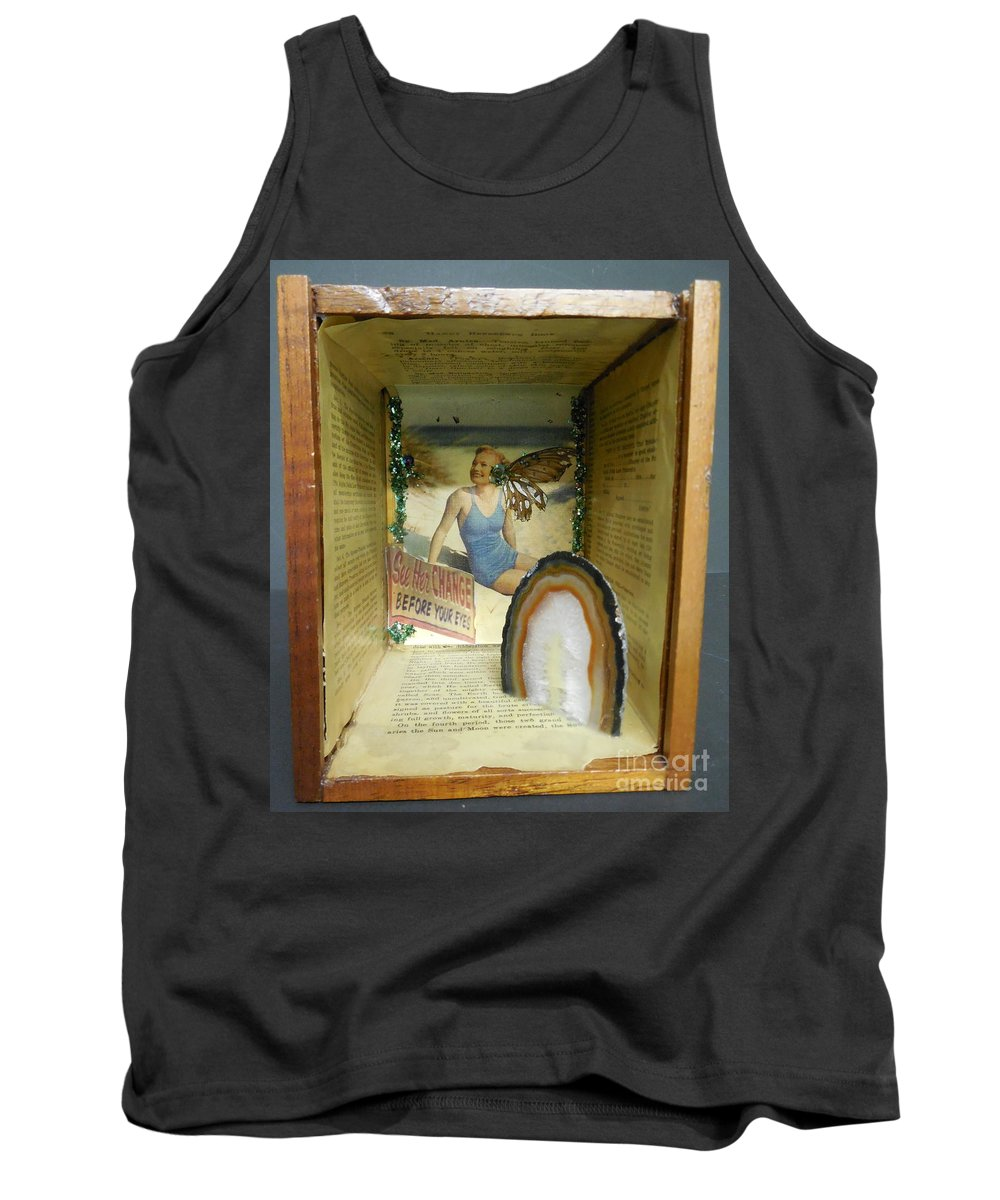 Collage Tank Top featuring the mixed media See Her Change by M Bellavia