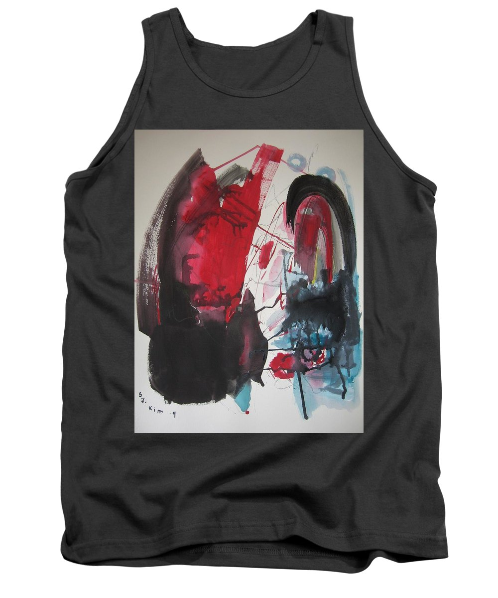 Red Paintings Tank Top featuring the painting Seem To Happen Suddenly Original Abstract Colorful Landscape Painting For Sale Red Blue Green by Seon-Jeong Kim