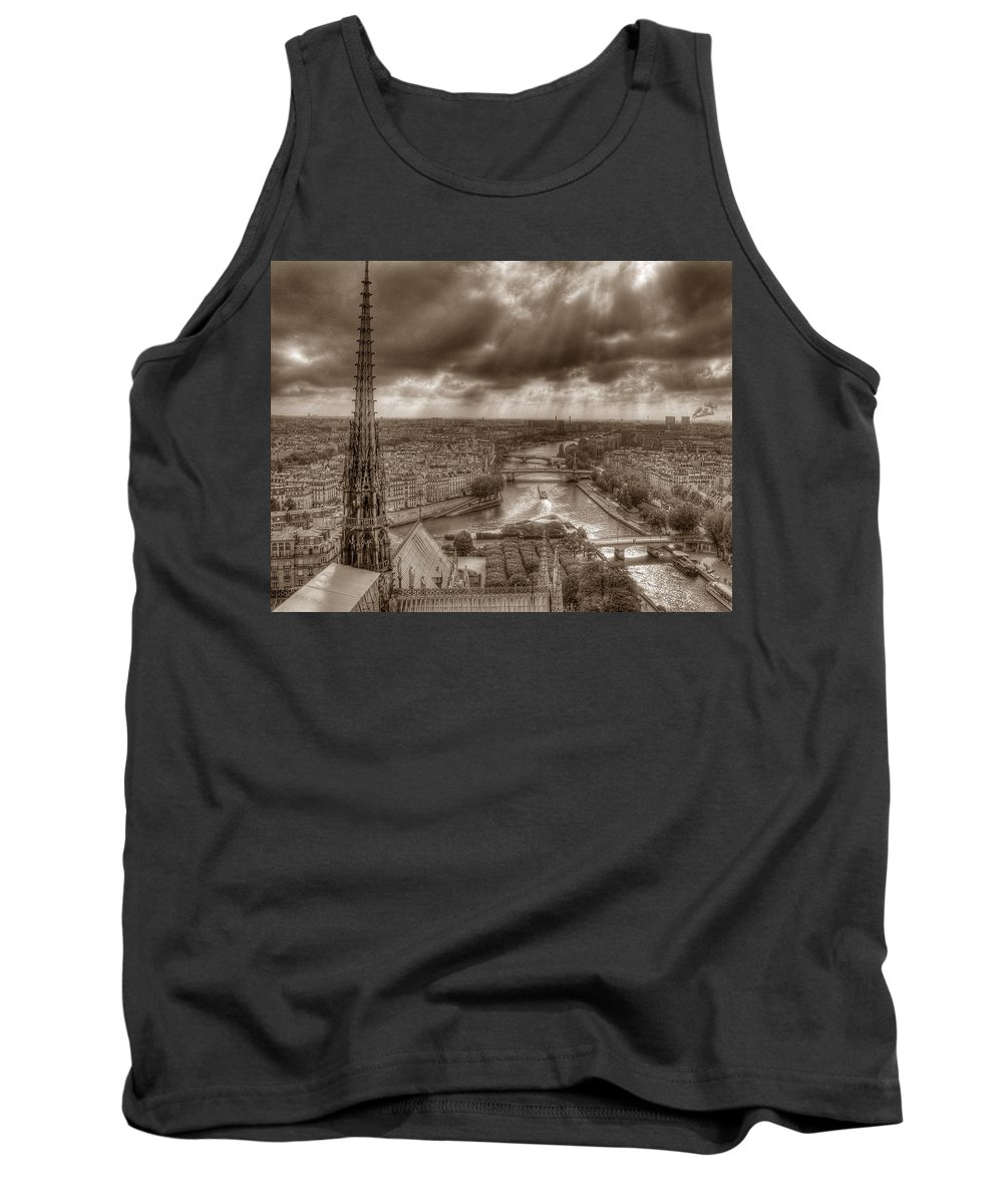 Seine Paris Notre Dame Tank Top featuring the photograph Seine From Notre Dame by Michael Kirk