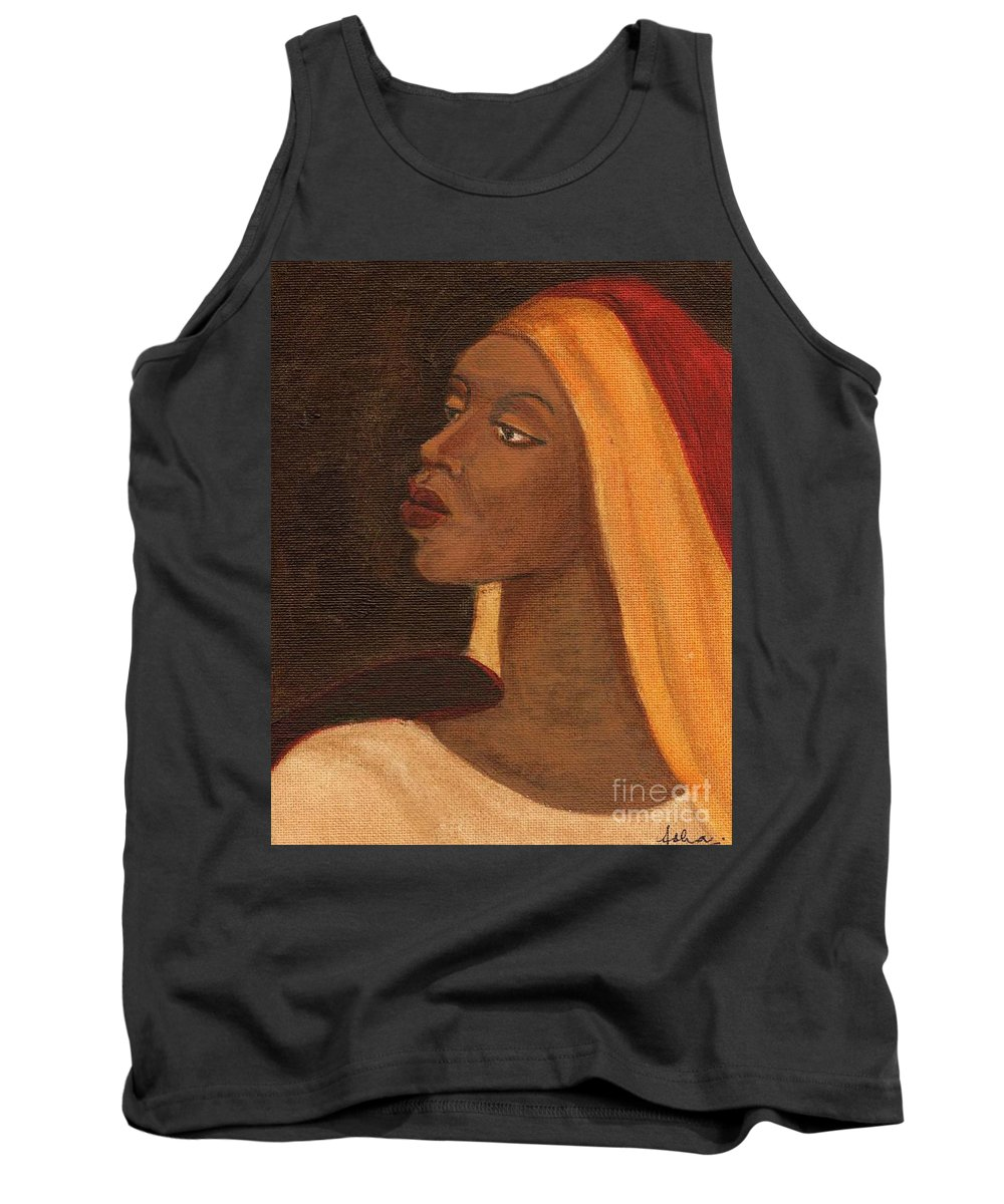 An African Woman Tank Top featuring the painting Semi-abstract- Woman by Asha Sudhaker Shenoy