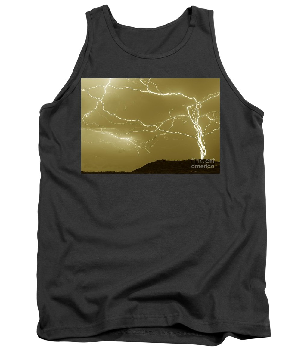 Michael Tidwell Photography Tank Top featuring the photograph Sepia Converging Lightning by Michael Tidwell