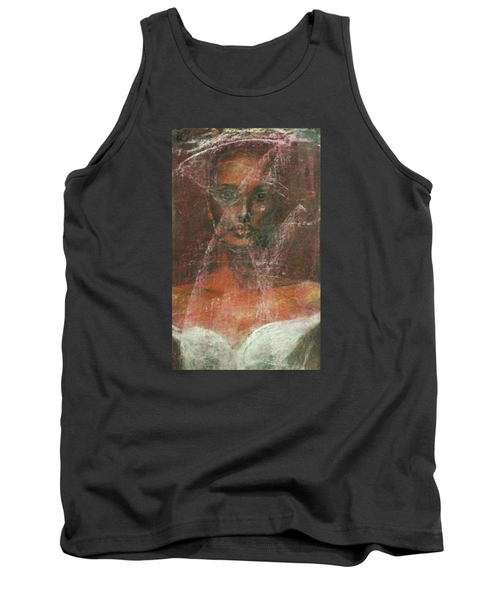 Portrait Art Tank Top featuring the painting Serious Bride Mirage by Jarmo Korhonen aka Jarko