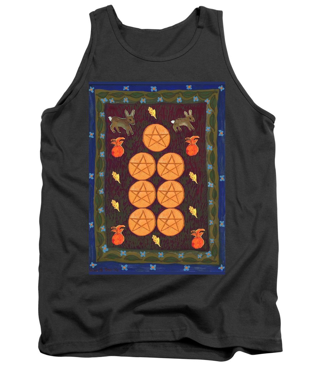 Tarot Tank Top featuring the painting Seven Of Pentacles by Sushila Burgess