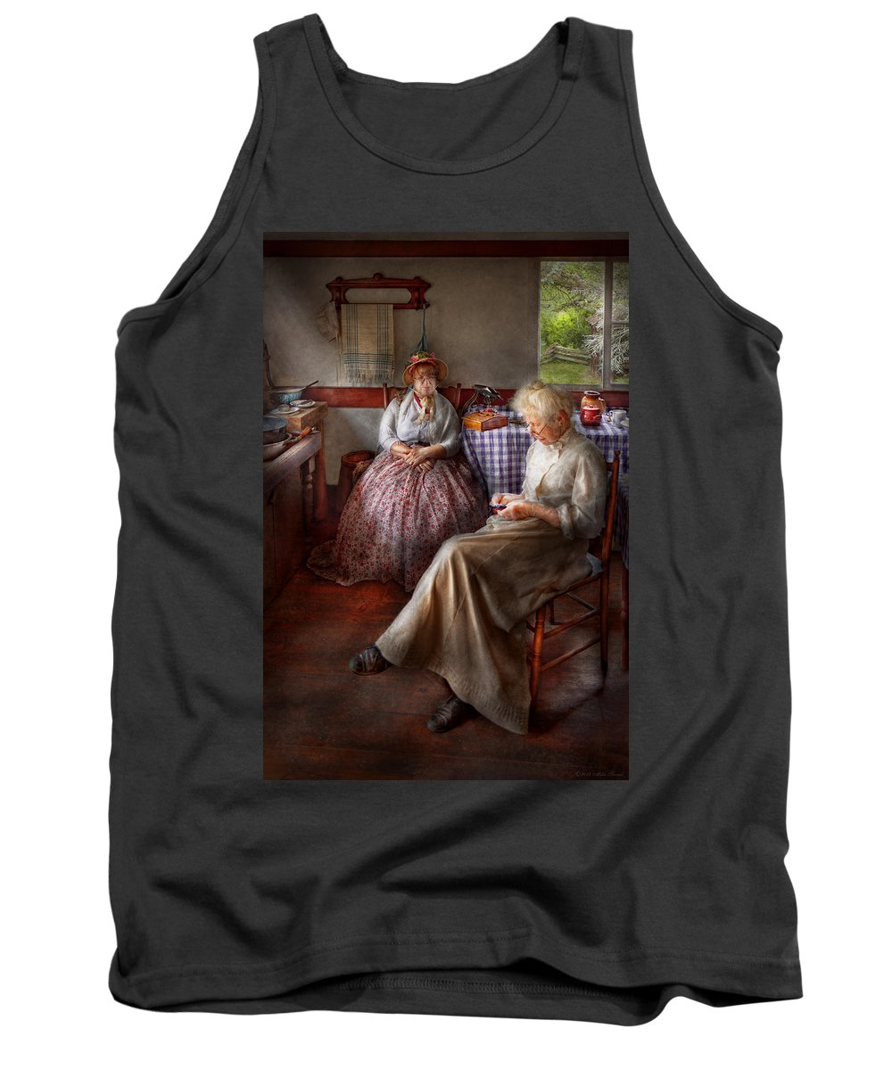 Sewing Tank Top featuring the photograph Sewing - I Can Watch Her Sew For Hours by Mike Savad