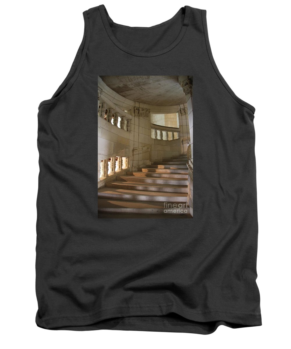 Staircase Tank Top featuring the photograph Shadows On Chateau Chambord Stairs by Christiane Schulze Art And Photography