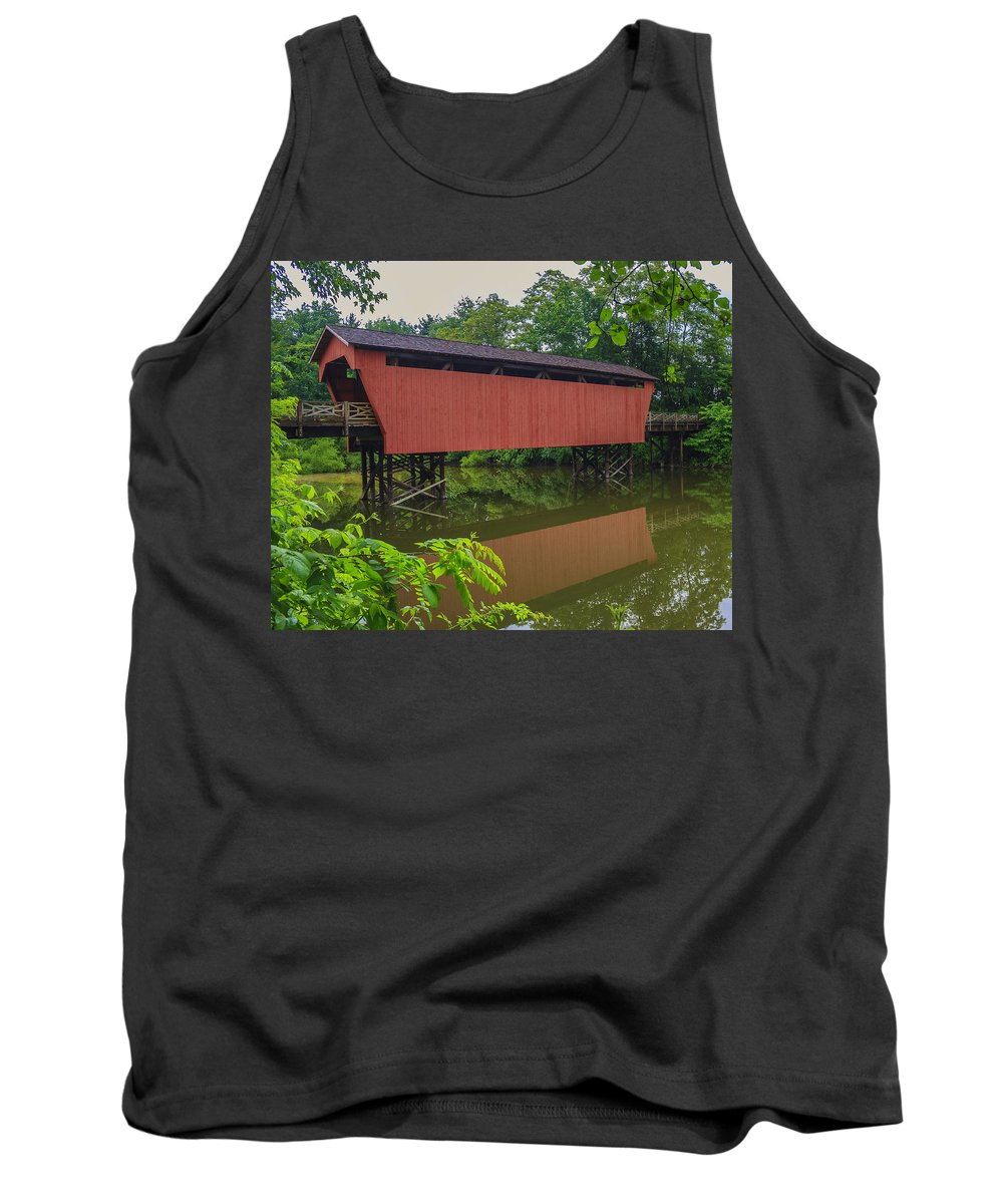 Ohio Tank Top featuring the photograph Shaeffer Or Campbell Covered Bridge by Jack R Perry