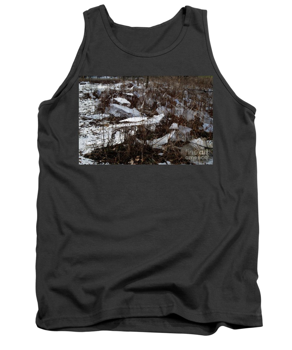 Ice Sheets In Field Tank Top featuring the photograph Shattered Field by Kitrina Arbuckle