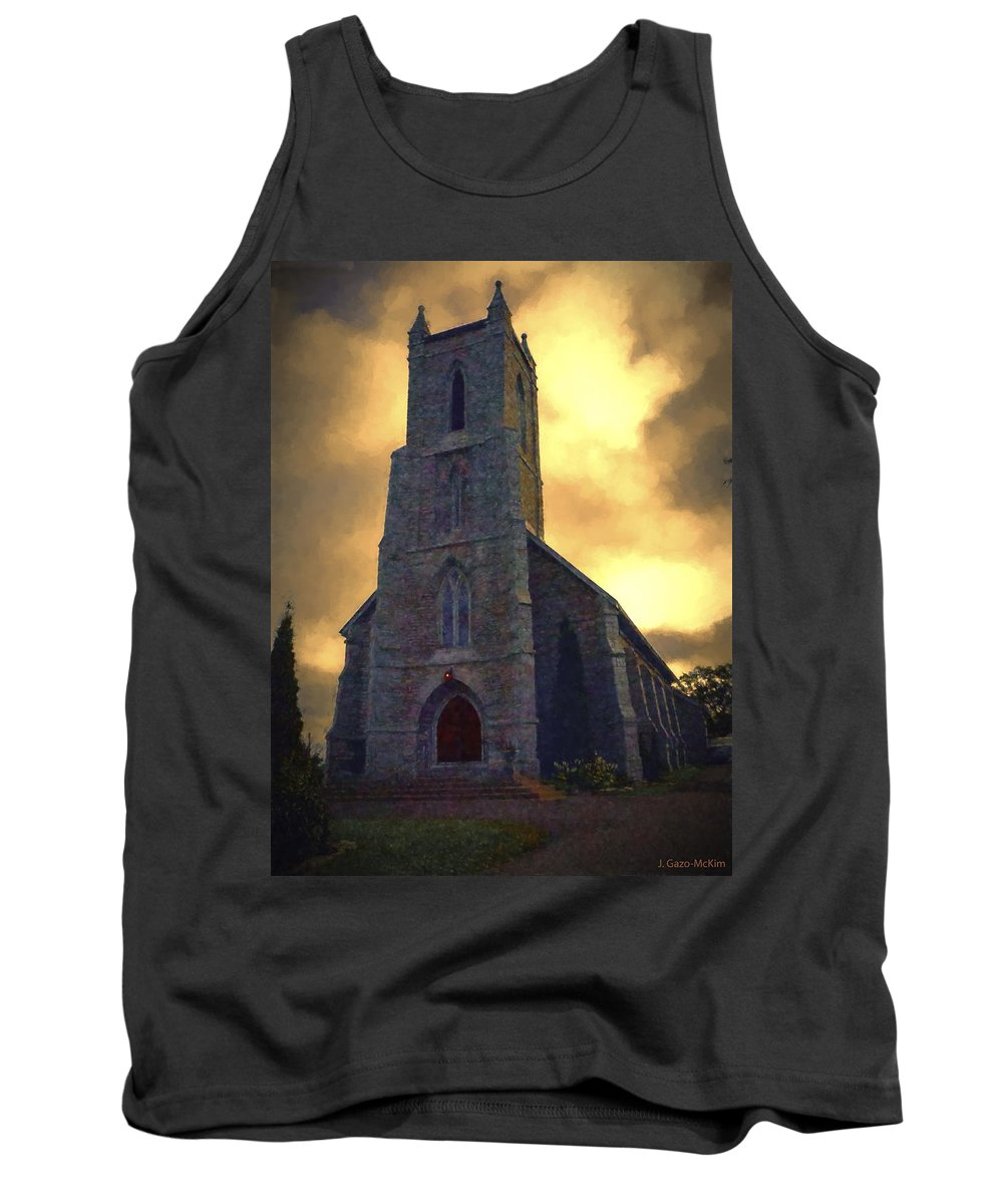 Church Tank Top featuring the digital art Shelter From The Storm by Jo-Anne Gazo-McKim