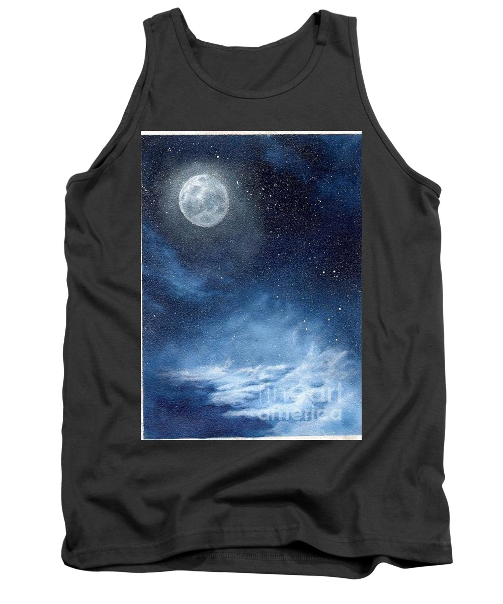 Cosmos Tank Top featuring the painting Shimmer by Murphy Elliott