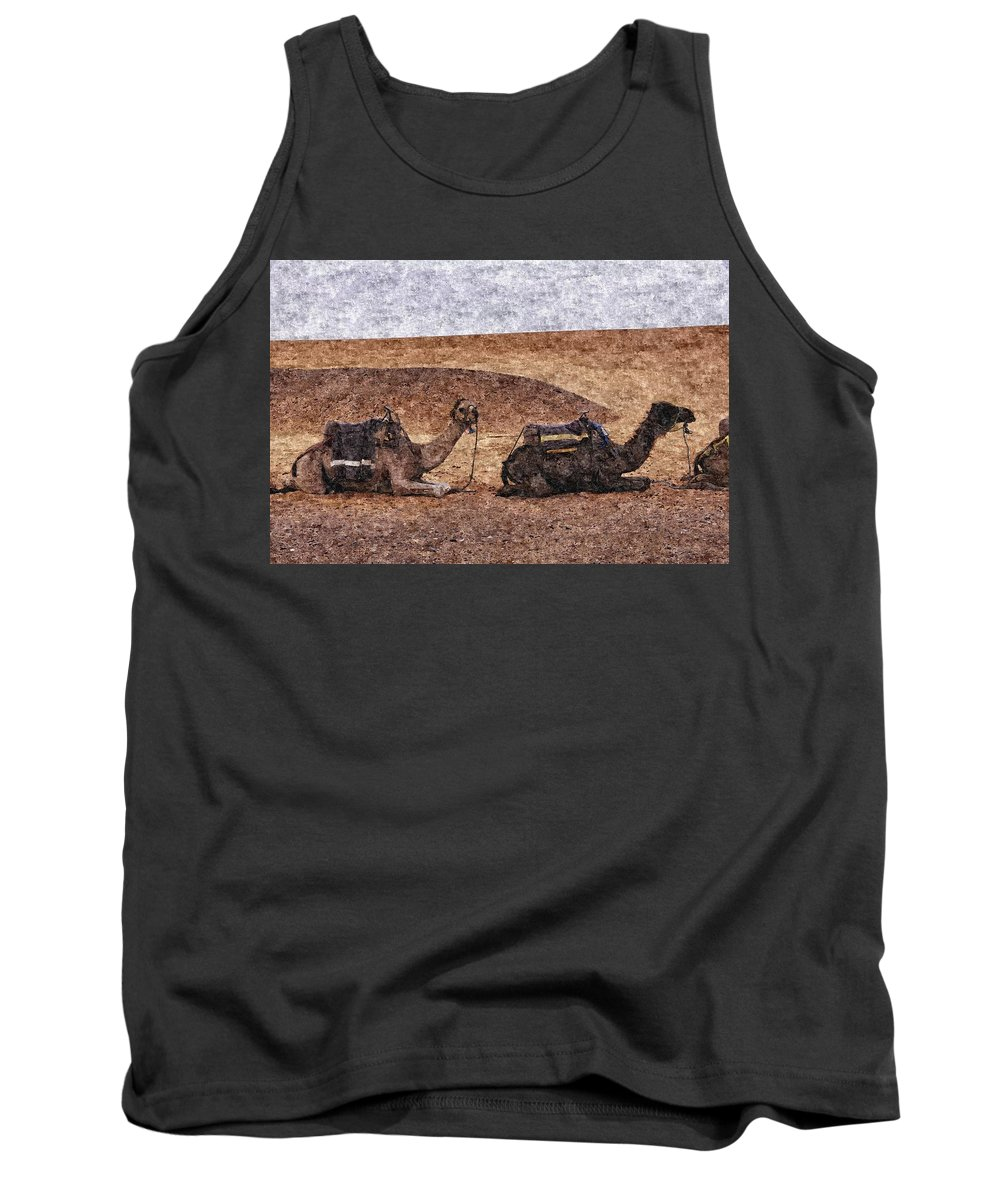 Desert Tank Top featuring the photograph Ships Of The Desert by Tom Maimran