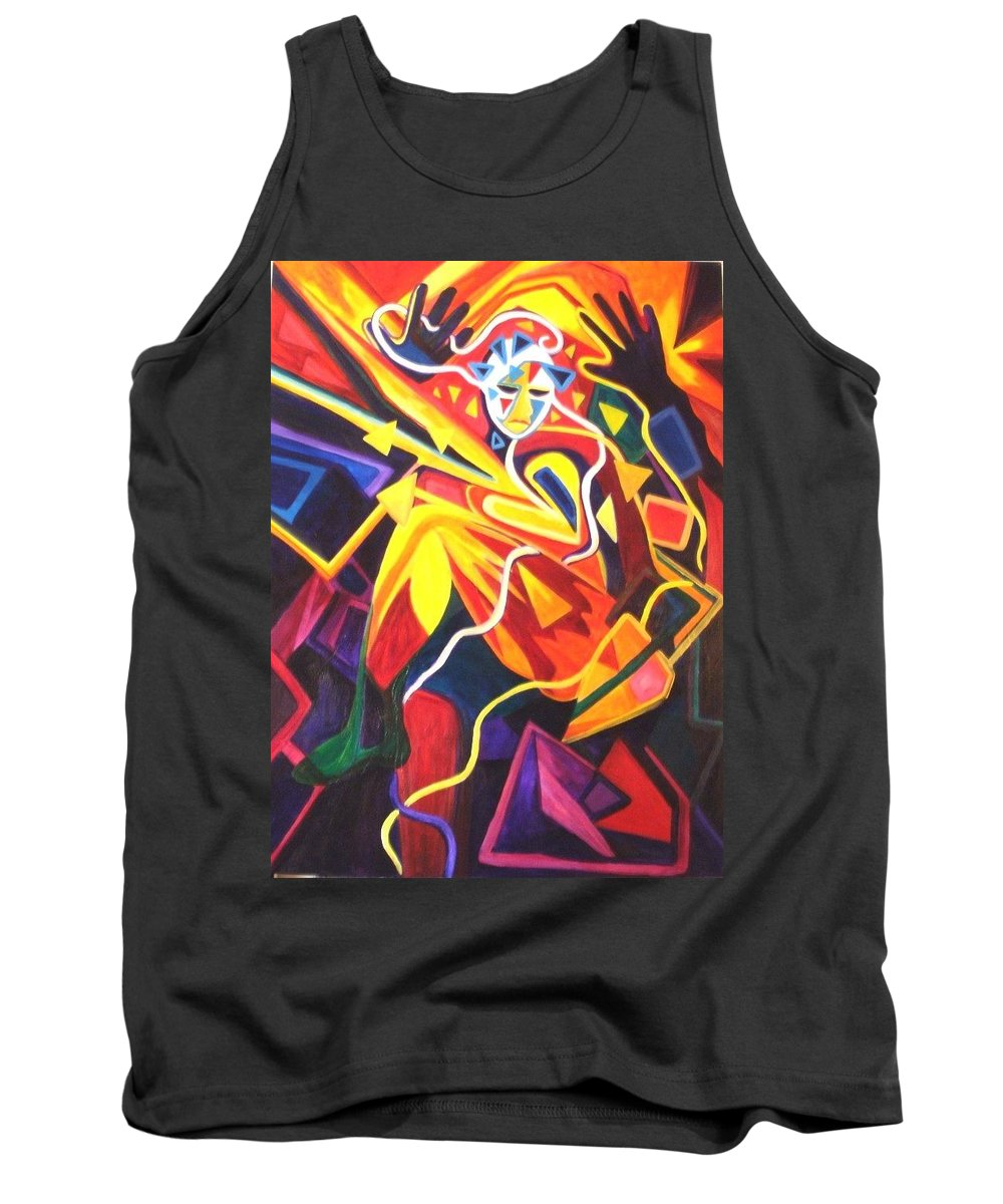 Abstract Tank Top featuring the painting Shot Through The Heart by Carolyn LeGrand