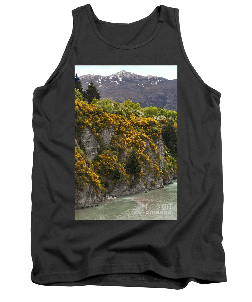 Shotover River Queenstown New Zealand Rivers Water Mountain Mountains Tree Trees Gorse Weed Weeds Landscape Landscapes Tank Top featuring the photograph Shotover River by Bob Phillips