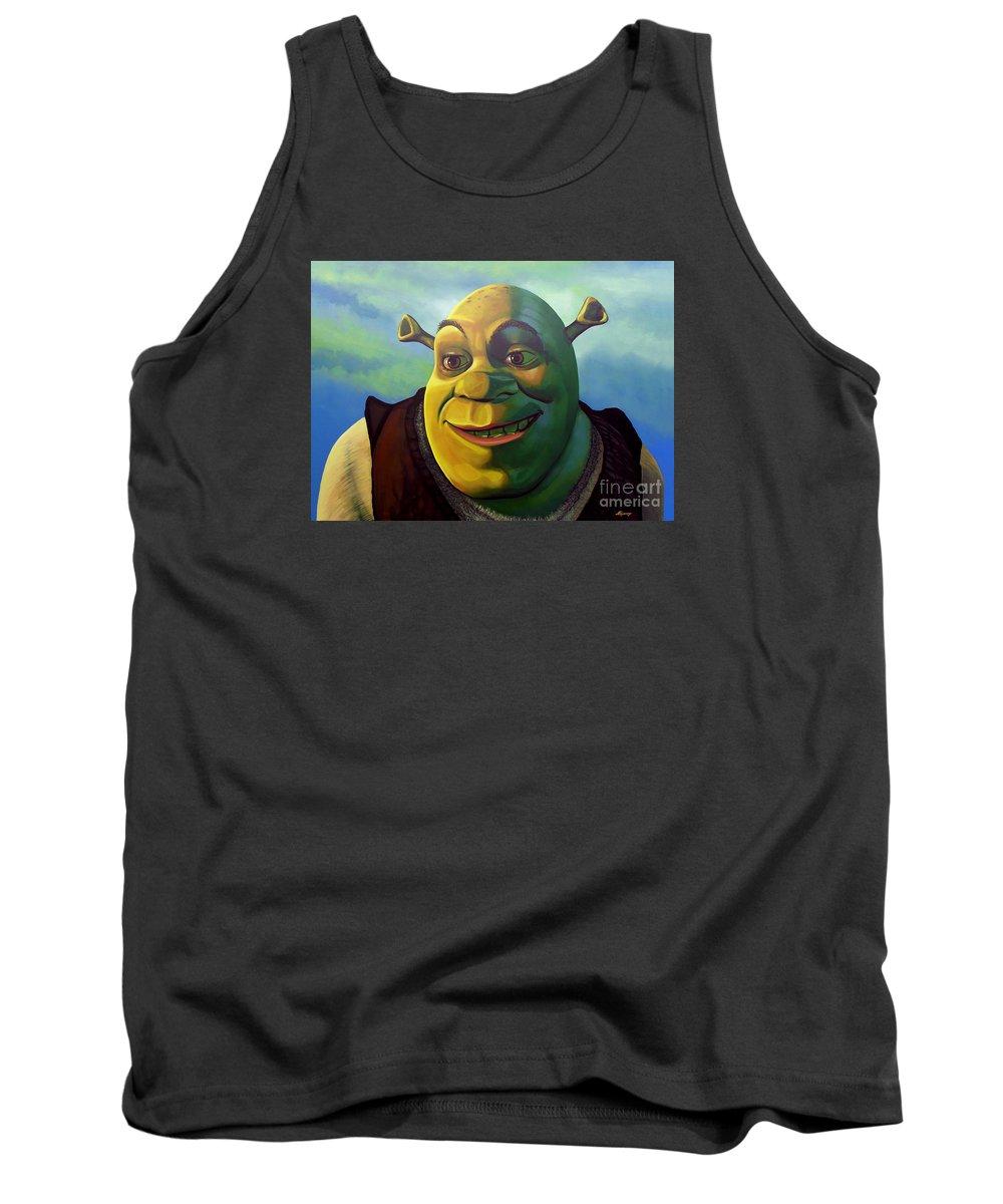 Shrek Tank Top featuring the painting Shrek by Paul Meijering