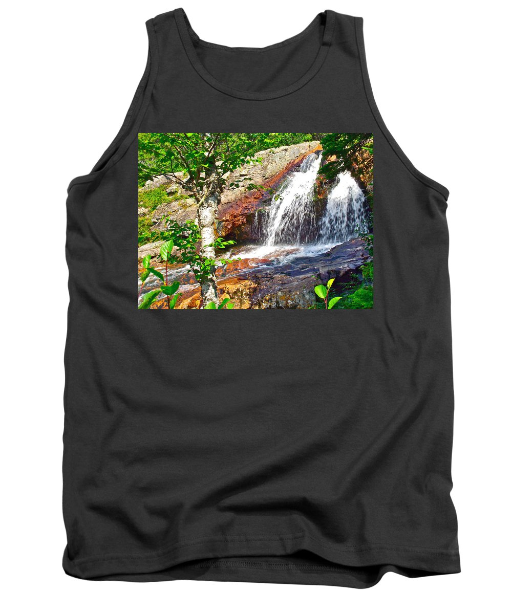 Side View Of Southeast Brook Falls In Gros Morne Np Tank Top featuring the photograph Side View Of Southeast Brook Falls In Gros Morne Np-nl by Ruth Hager