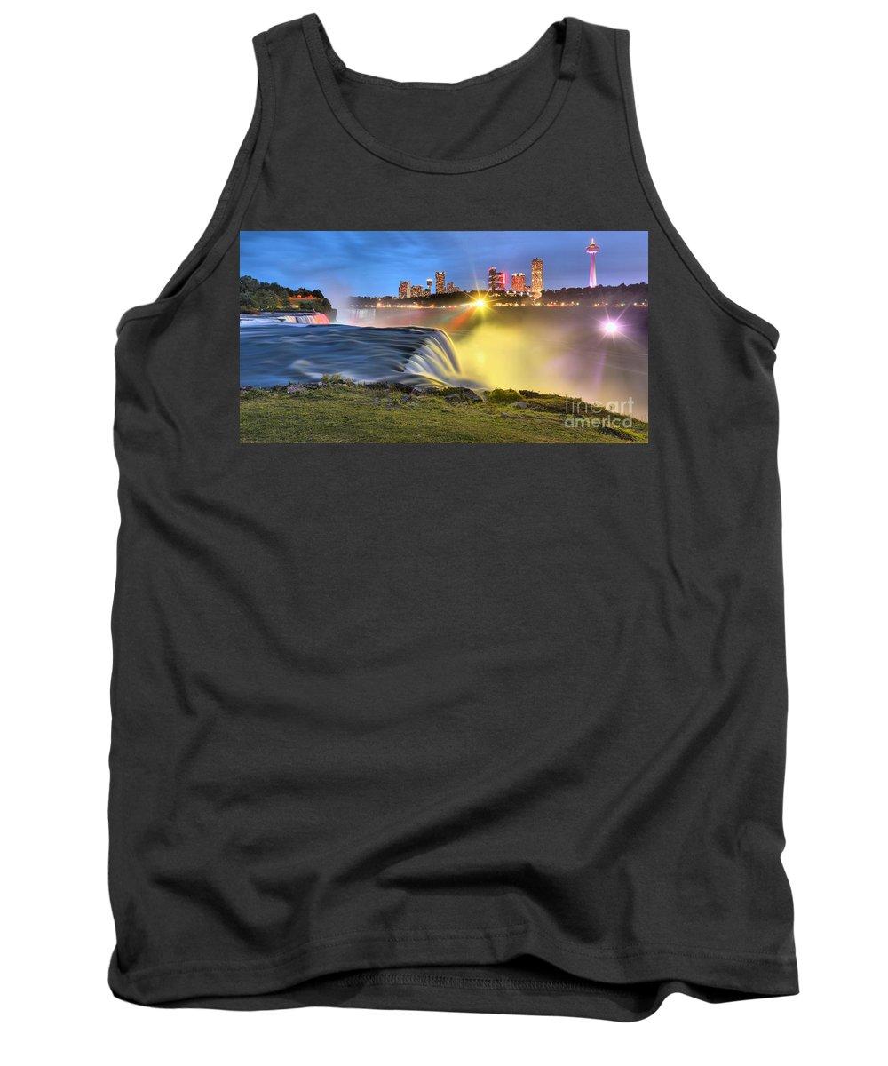 Niagara Falls Tank Top featuring the photograph Silky Niagara Falls Panoramic Sunset by Adam Jewell