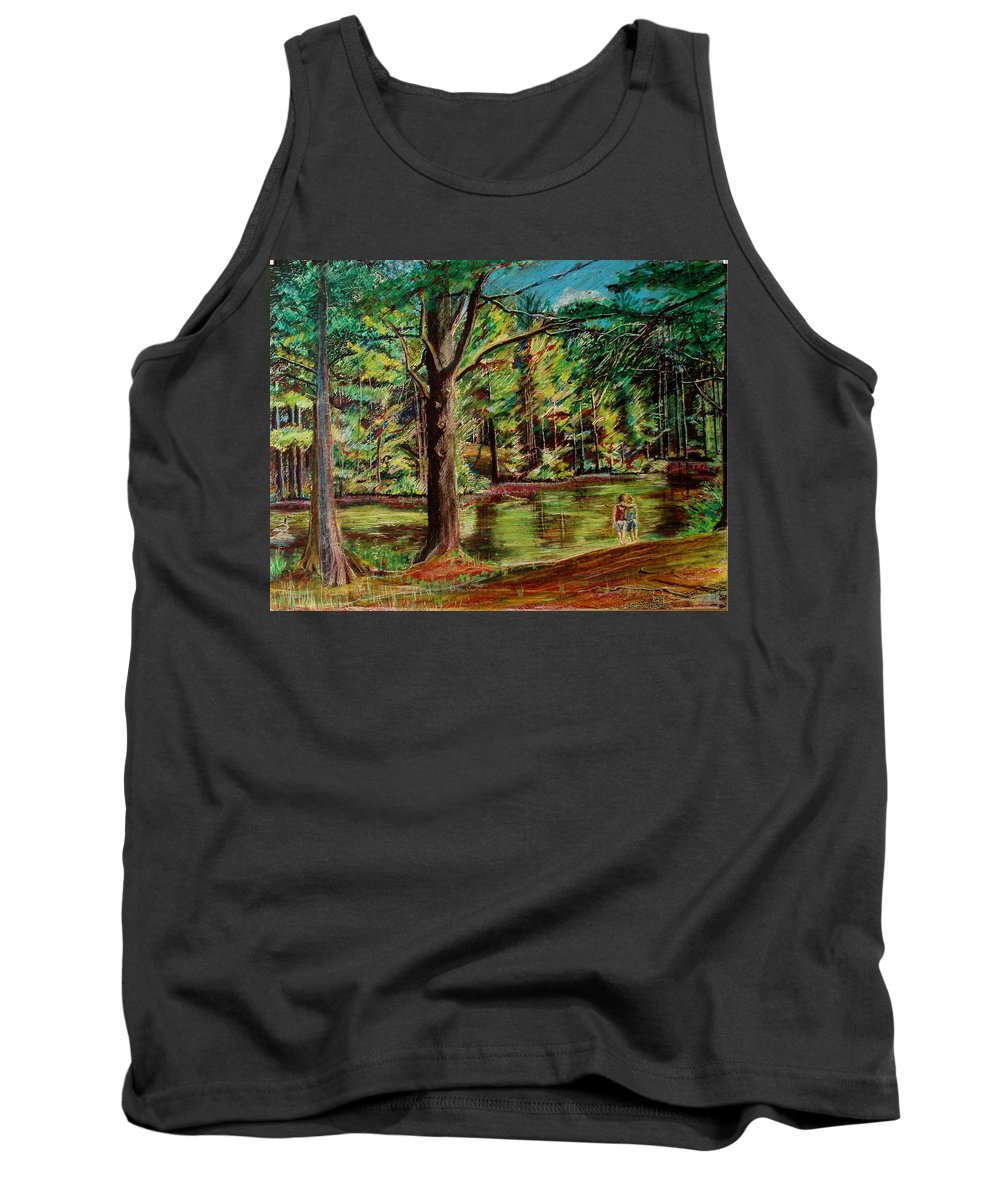 New Hampshire Tank Top featuring the pastel Sisters At Wason Pond by Sean Connolly