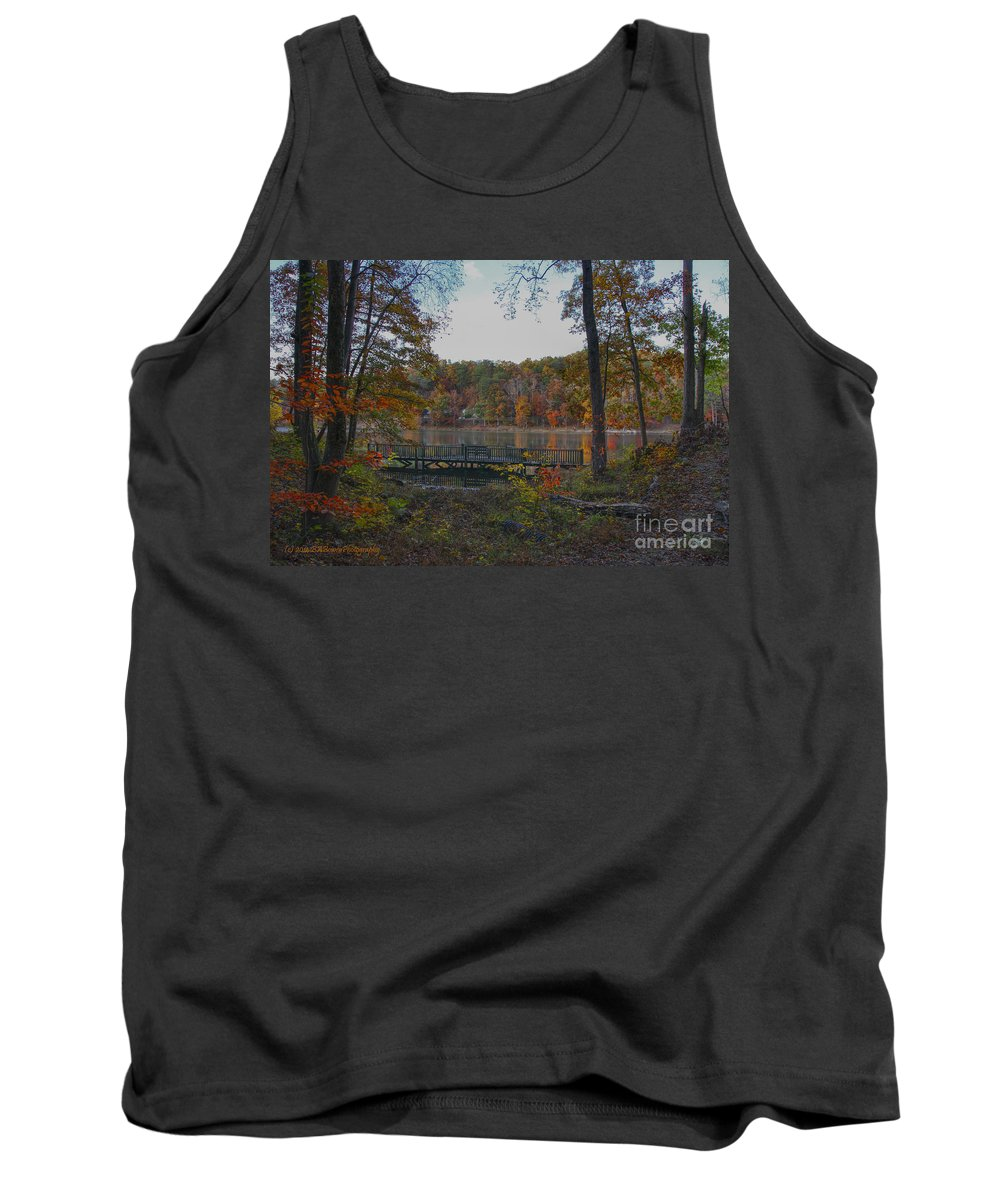 Fall Color Tank Top featuring the photograph Sitting Deck At Sloppy Floyd Lake by Barbara Bowen