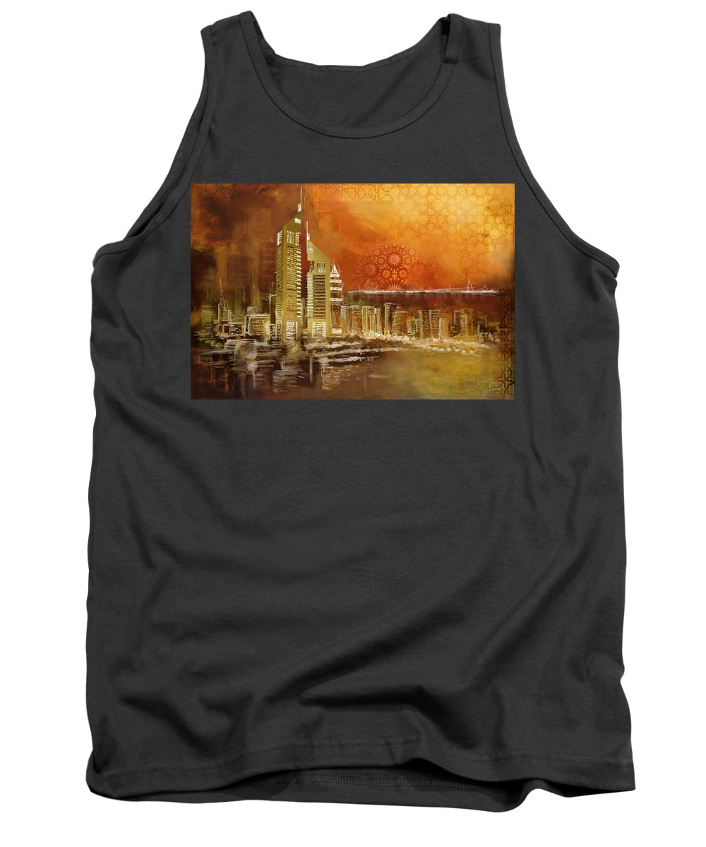 Dubai Tank Top featuring the painting Skyline View by Corporate Art Task Force