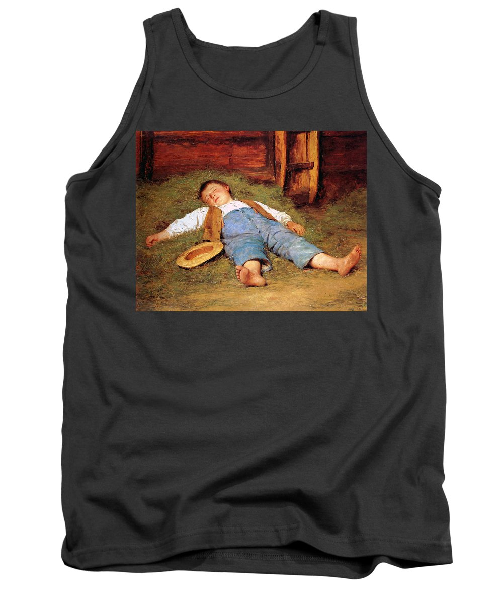 Albert Anker Tank Top featuring the painting Sleeping Boy In The Hay by Albert Anker