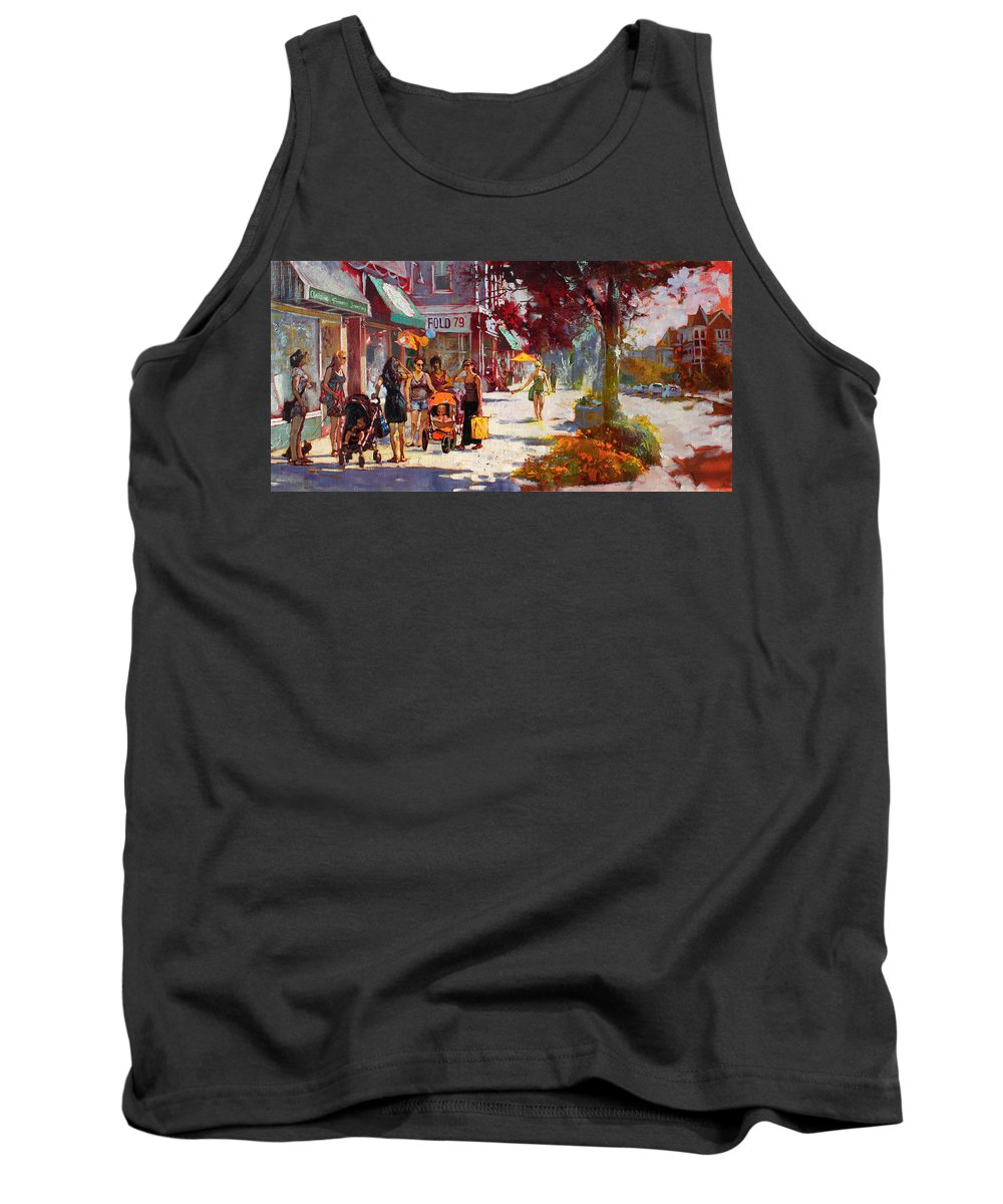 Landscape Tank Top featuring the painting Small Talk In Elmwood Ave by Ylli Haruni