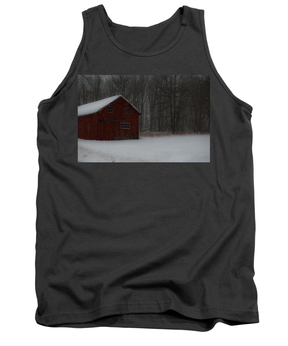 Snow Tank Top featuring the photograph Snow Barn by Scott Hafer