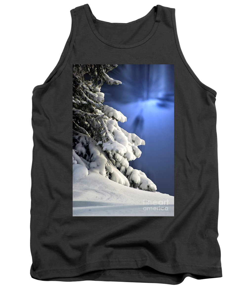 Tree Tank Top featuring the photograph Snow Covered Tree Branches by Thomas Woolworth