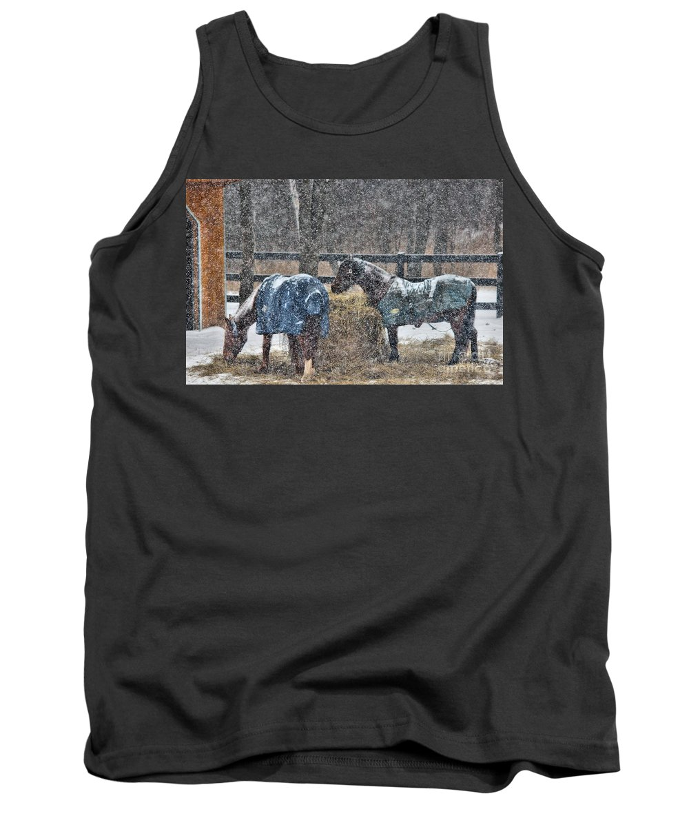 Horse Tank Top featuring the photograph Snow Horses by Janice Byer