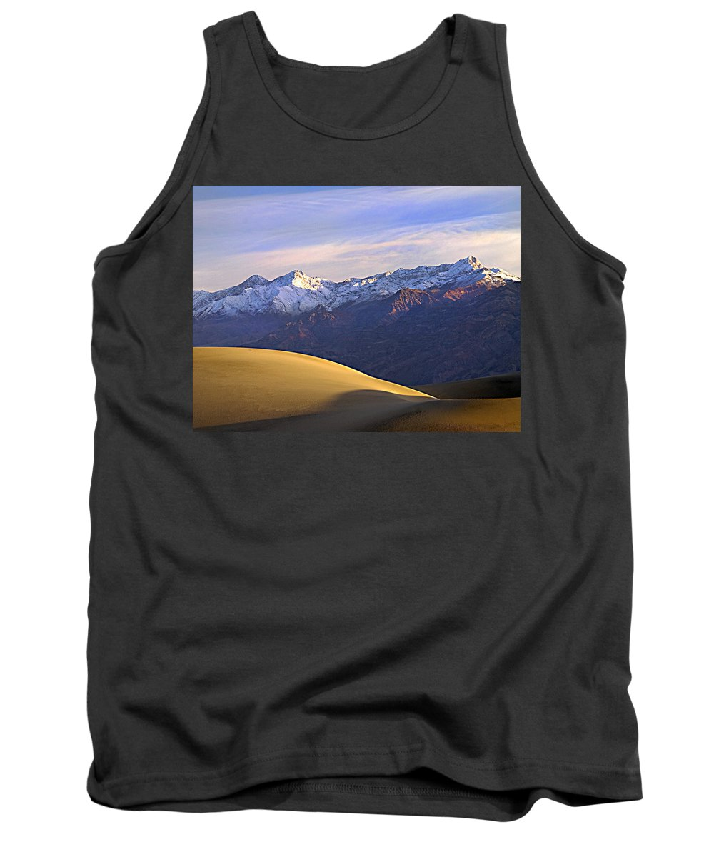 Death Valley Tank Top featuring the photograph Snow On The Grapevine Range. by Joe Schofield