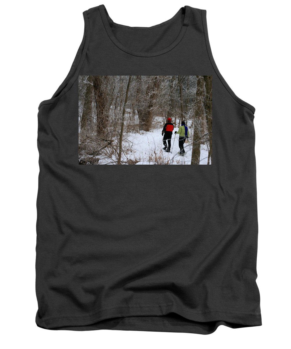 Couple Tank Top featuring the photograph Snowshoeing In The Park by Kay Novy