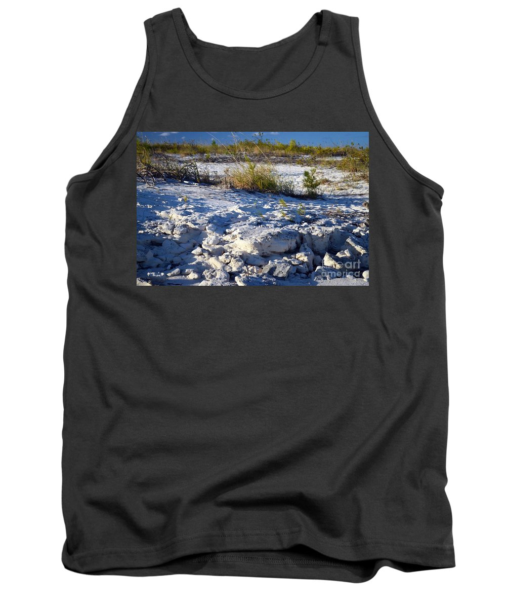Turks And Caicos Tank Top featuring the photograph Snowy Beach by Judy Wolinsky